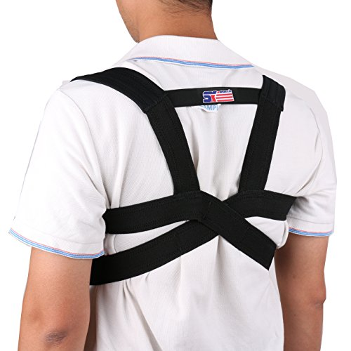 Back Support Posture Back Shoulder Corrector Support Brace Belt Therapy Adjustable 1pcs Fit 68-110cm – Black (XL)